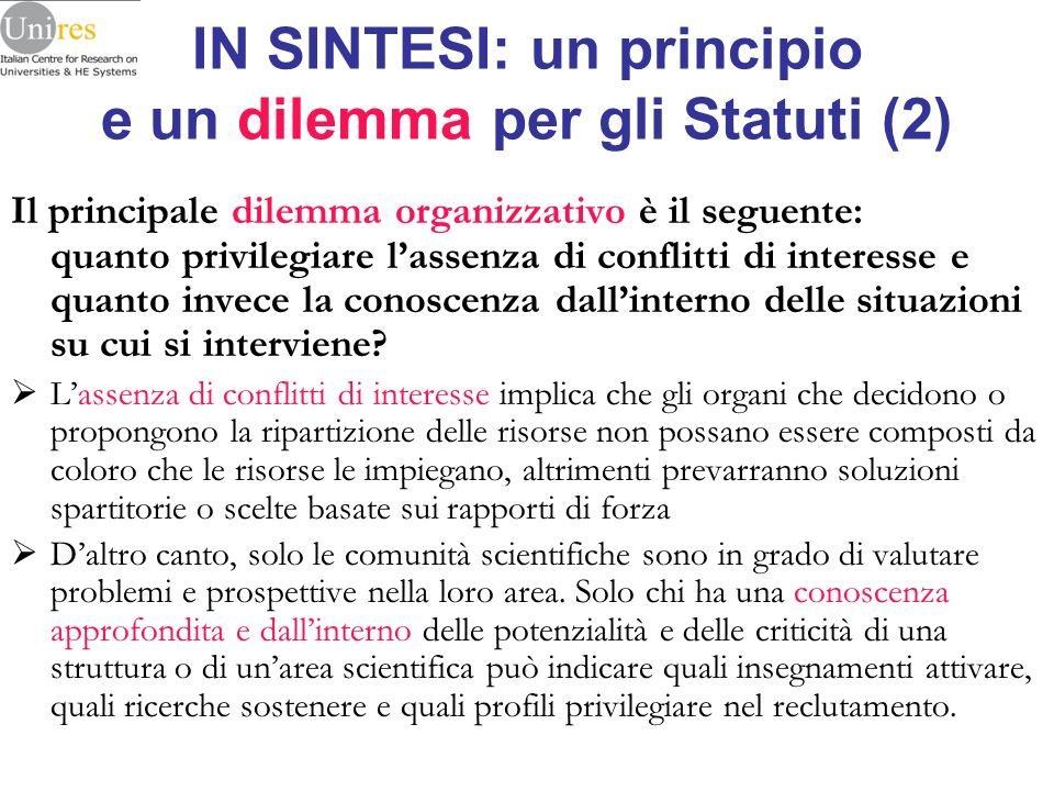 IN SINTESI: un principio e un dilemma per gli Statuti (2)