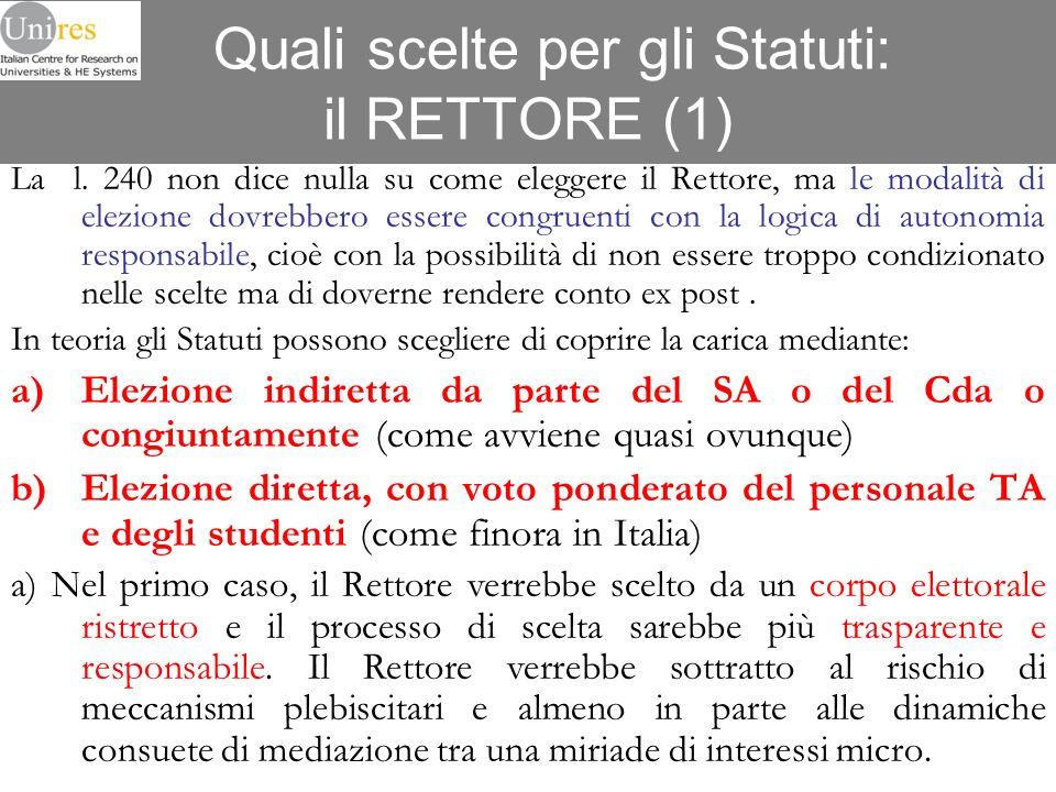 Quali scelte per gli Statuti: il RETTORE (1)