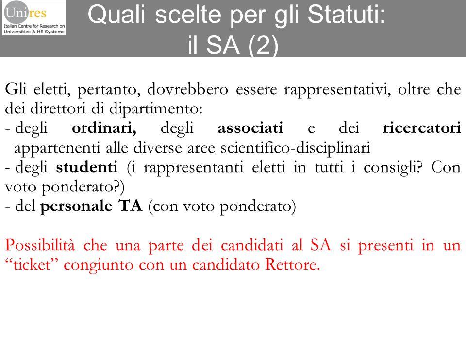 Quali scelte per gli Statuti: il SA (2)
