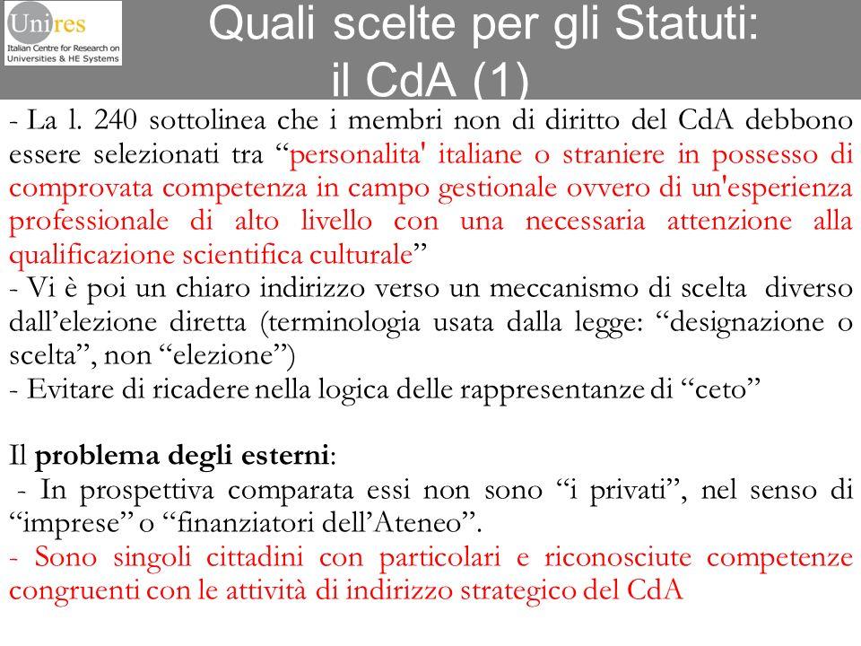 Quali scelte per gli Statuti: il CdA (1)