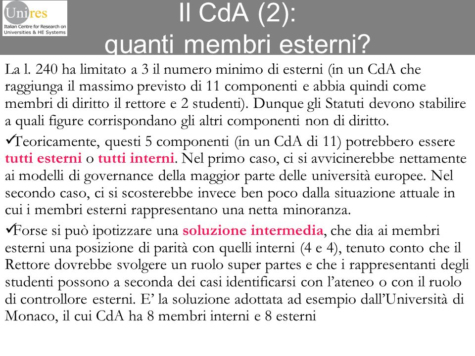 Il CdA (2): quanti membri esterni