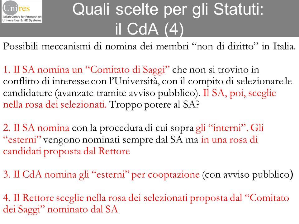 Quali scelte per gli Statuti: il CdA (4)