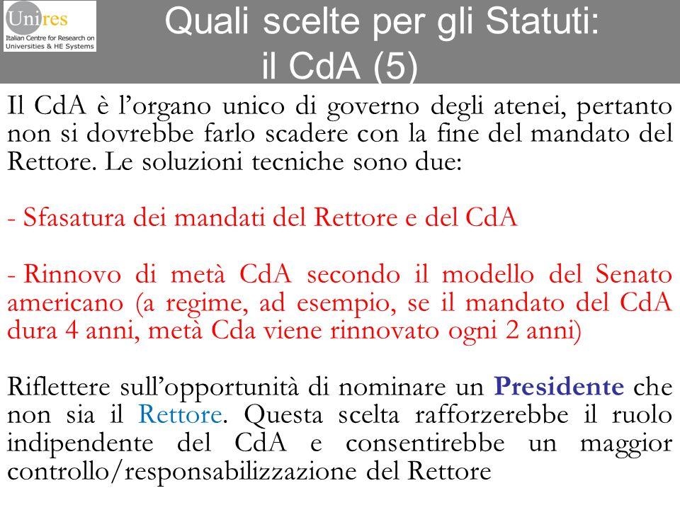 Quali scelte per gli Statuti: il CdA (5)