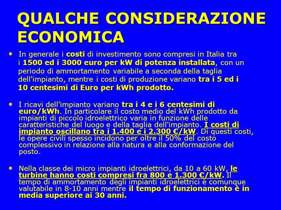 QUALCHE CONSIDERAZIONE ECONOMICA
