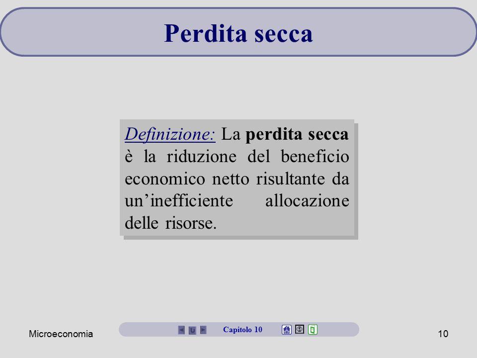 Perdita secca Definizione: La perdita secca è la riduzione del beneficio economico netto risultante da un'inefficiente allocazione delle risorse.