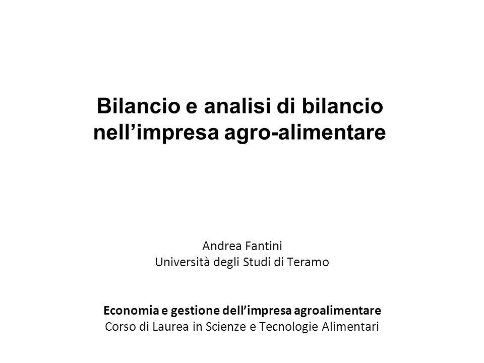 Bilancio e analisi di bilancio nell'impresa agro-alimentare