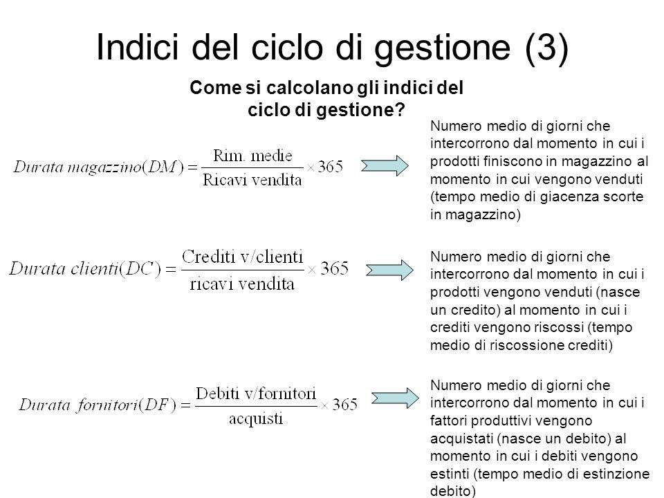 Indici del ciclo di gestione (3)