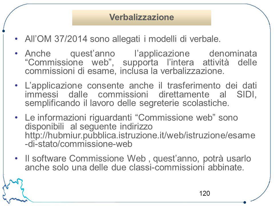 All'OM 37/2014 sono allegati i modelli di verbale.