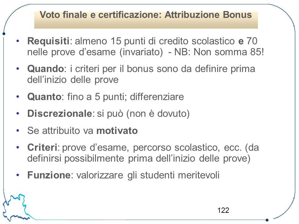 Voto finale e certificazione: Attribuzione Bonus
