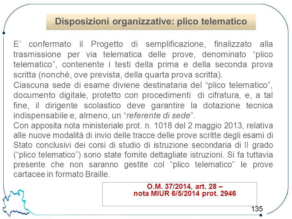 Disposizioni organizzative: plico telematico