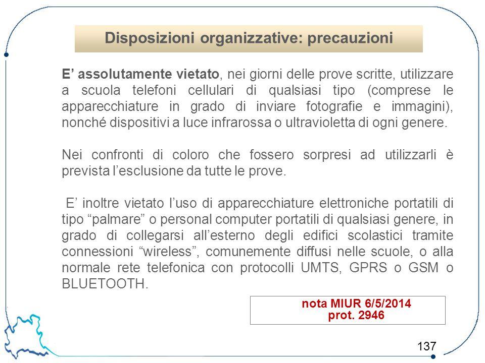 Disposizioni organizzative: precauzioni