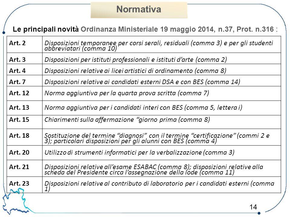 Normativa Le principali novità Ordinanza Ministeriale 19 maggio 2014, n.37, Prot. n.316 : Art. 2.