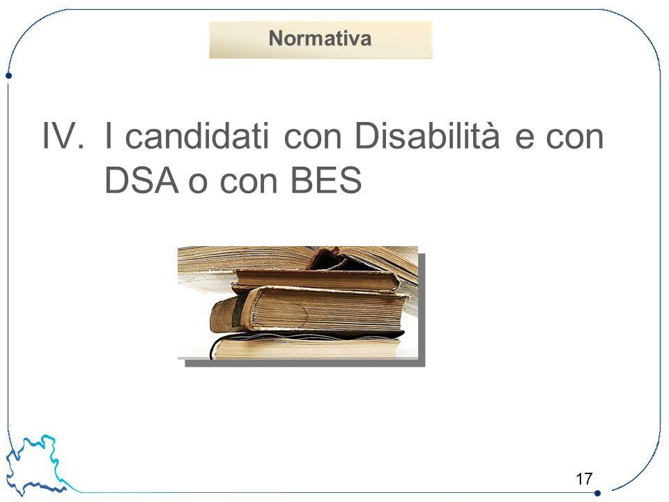 I candidati con Disabilità e con DSA o con BES