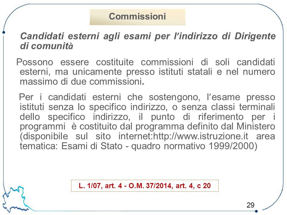 Commissioni Candidati esterni agli esami per l'indirizzo di Dirigente di comunità.