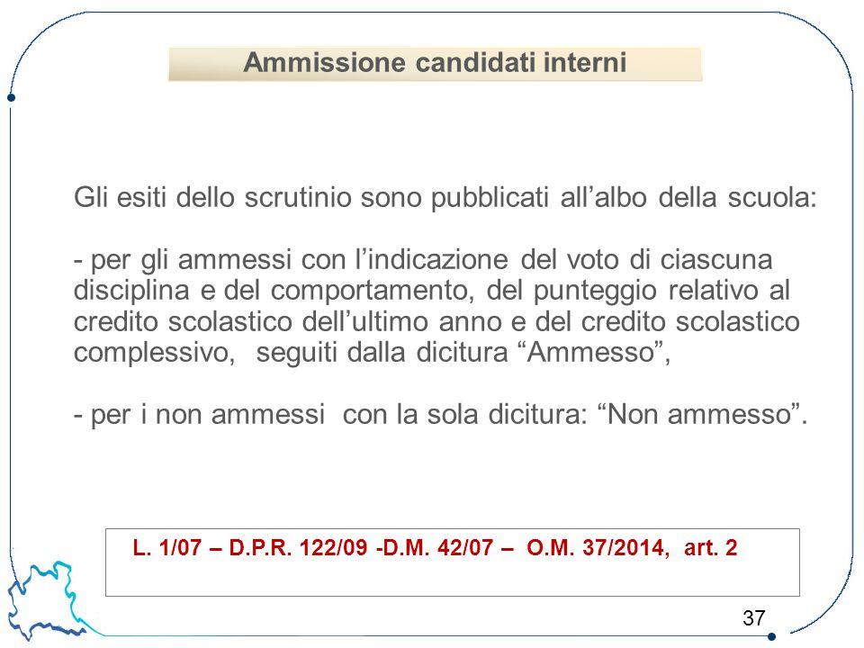 Ammissione candidati interni