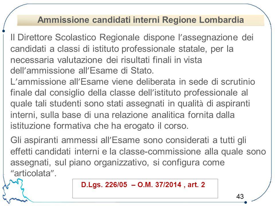 Ammissione candidati interni Regione Lombardia