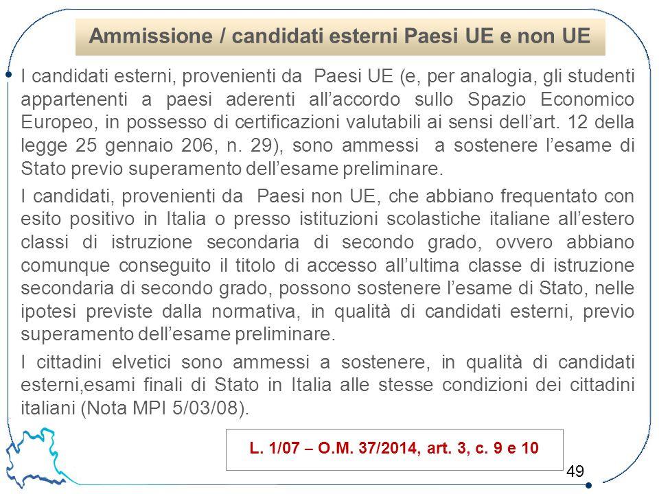 Ammissione / candidati esterni Paesi UE e non UE