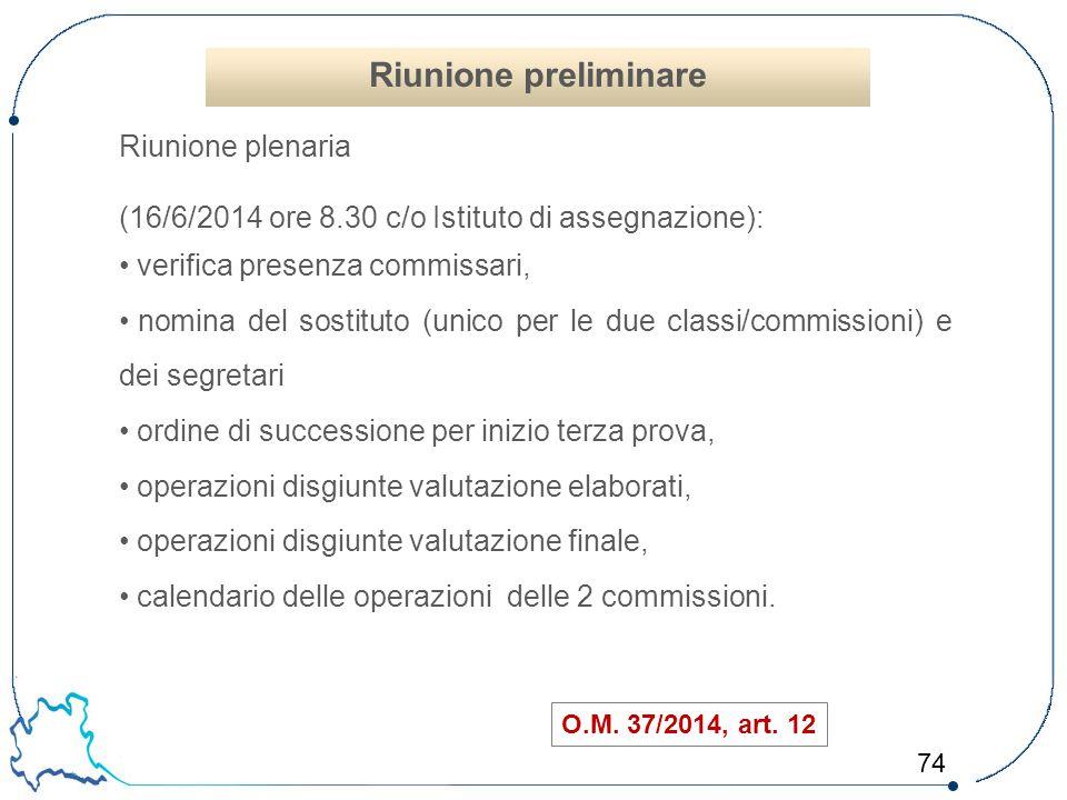 Riunione preliminare Riunione plenaria