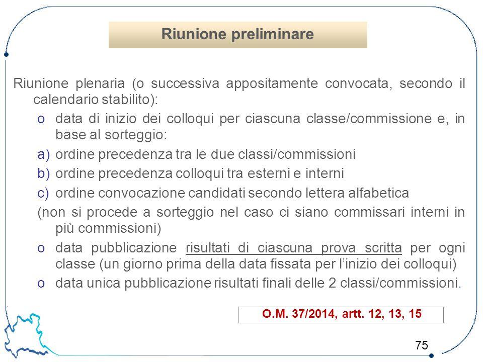 Riunione preliminare Riunione plenaria (o successiva appositamente convocata, secondo il calendario stabilito):