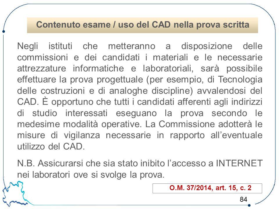 Contenuto esame / uso del CAD nella prova scritta