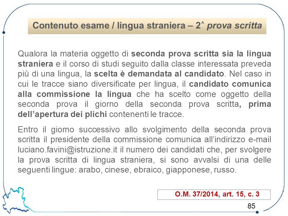 Contenuto esame / lingua straniera – 2^ prova scritta