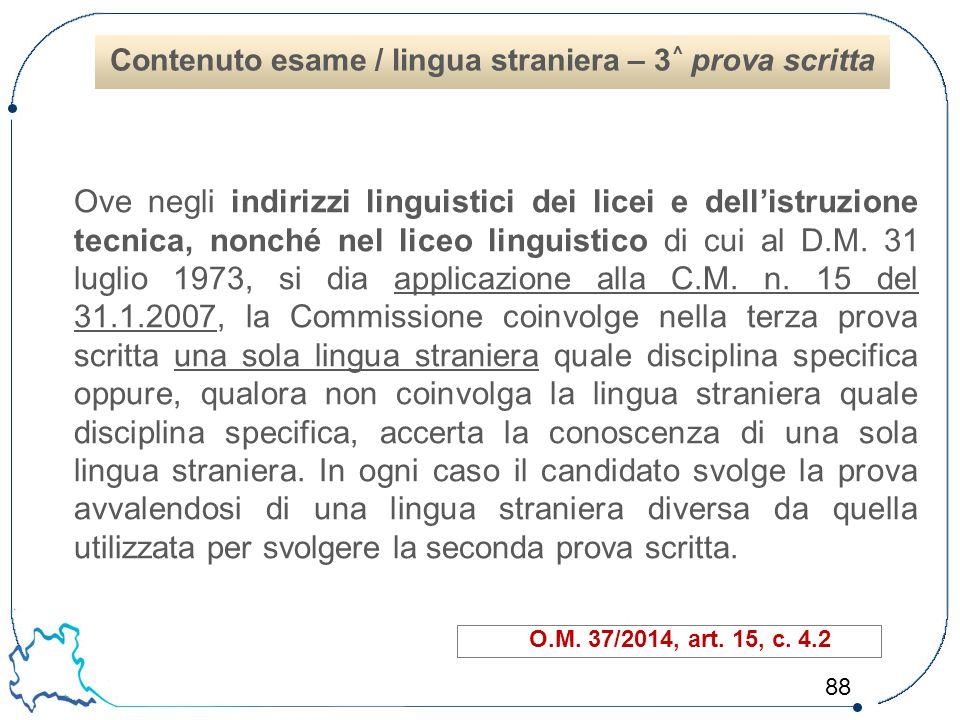 Contenuto esame / lingua straniera – 3^ prova scritta