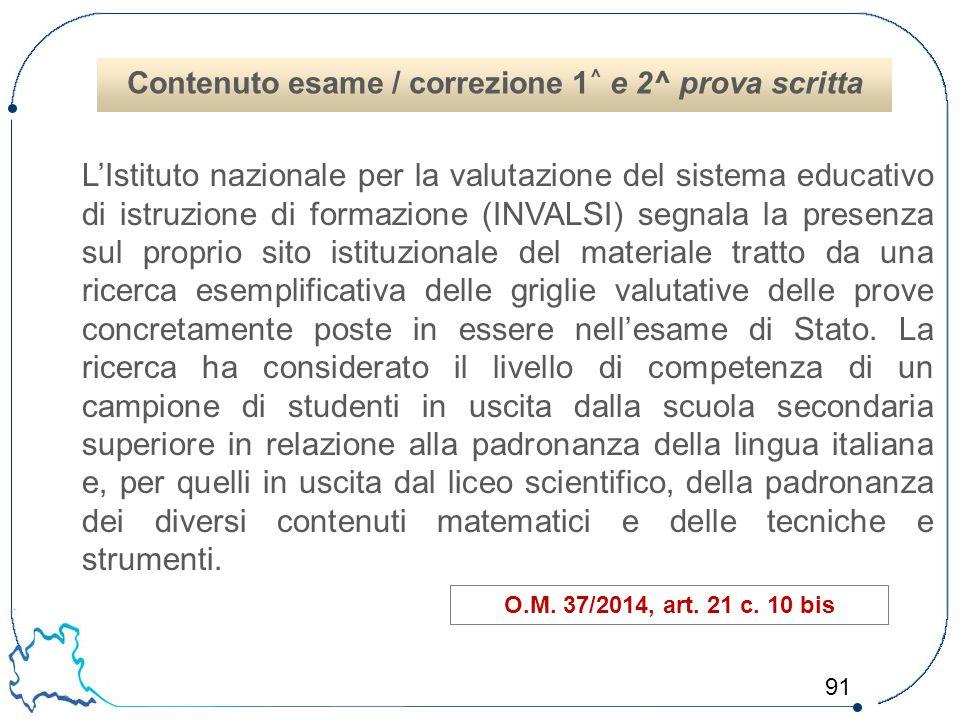 Contenuto esame / correzione 1^ e 2^ prova scritta