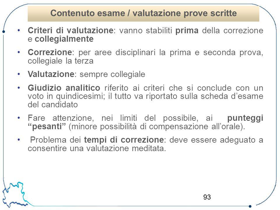 Contenuto esame / valutazione prove scritte