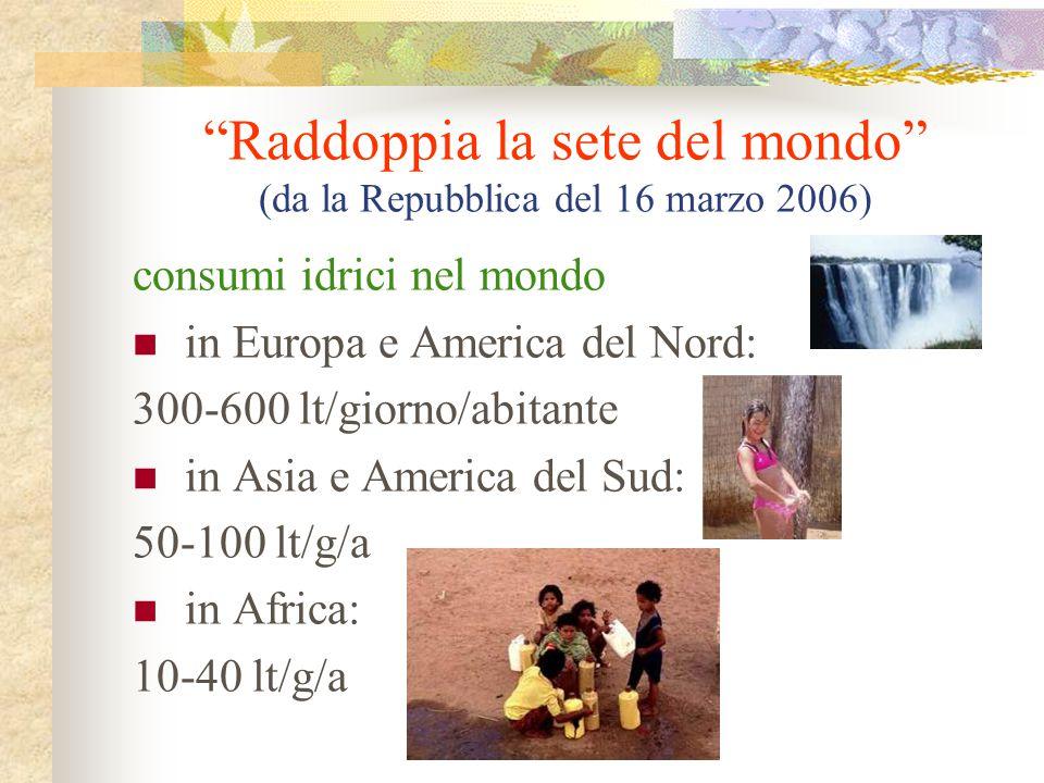 Raddoppia la sete del mondo (da la Repubblica del 16 marzo 2006)