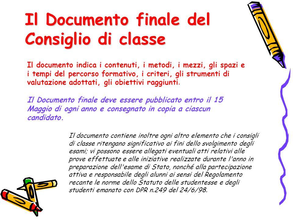 Il Documento finale del Consiglio di classe