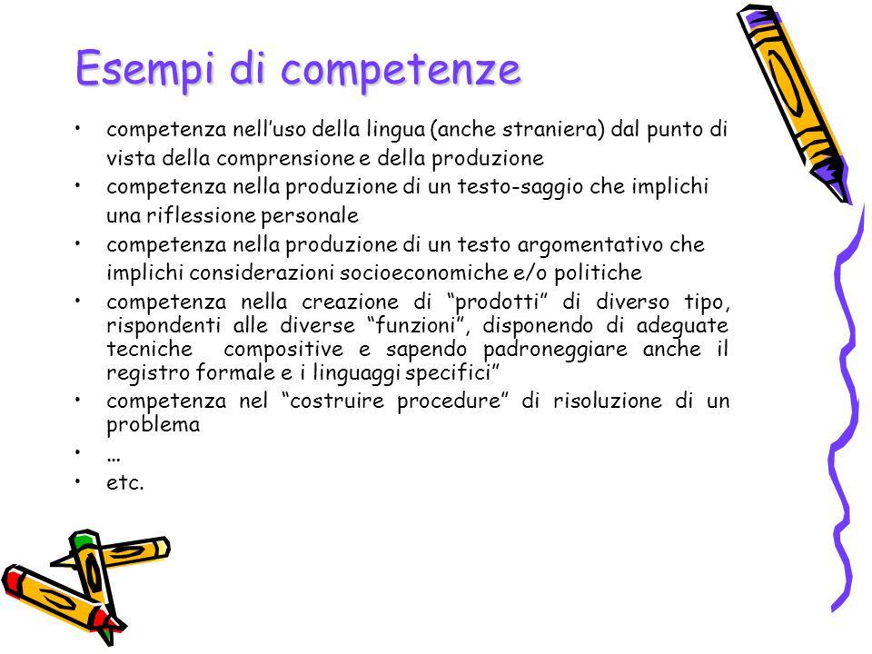 Esempi di competenze competenza nell'uso della lingua (anche straniera) dal punto di. vista della comprensione e della produzione.