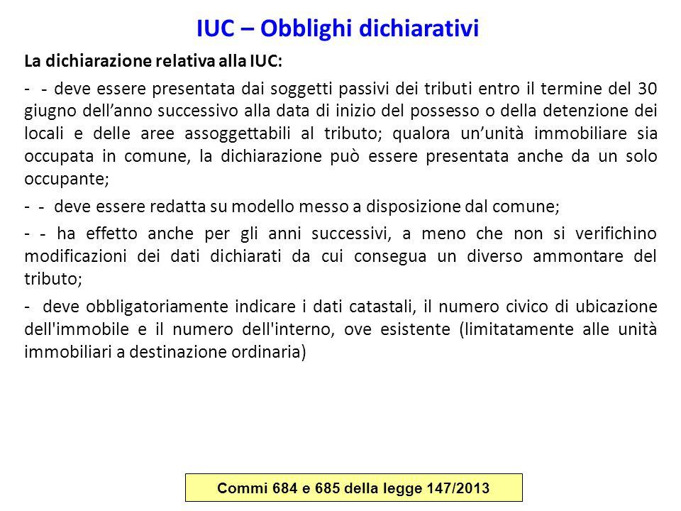 IUC – Obblighi dichiarativi