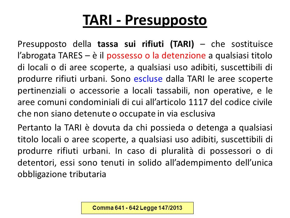TARI - Presupposto