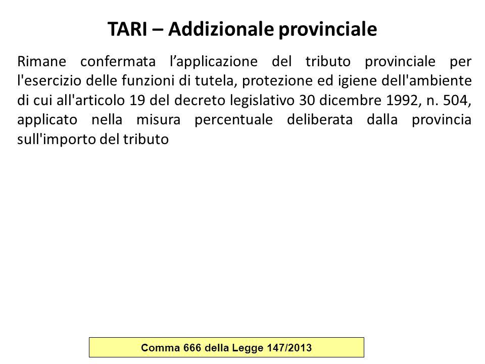TARI – Addizionale provinciale