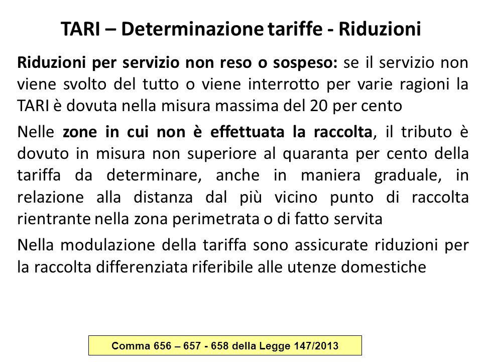 TARI – Determinazione tariffe - Riduzioni