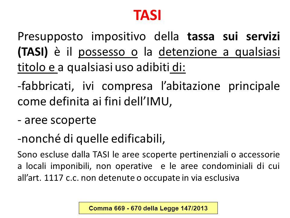 TASI Presupposto impositivo della tassa sui servizi (TASI) è il possesso o la detenzione a qualsiasi titolo e a qualsiasi uso adibiti di: