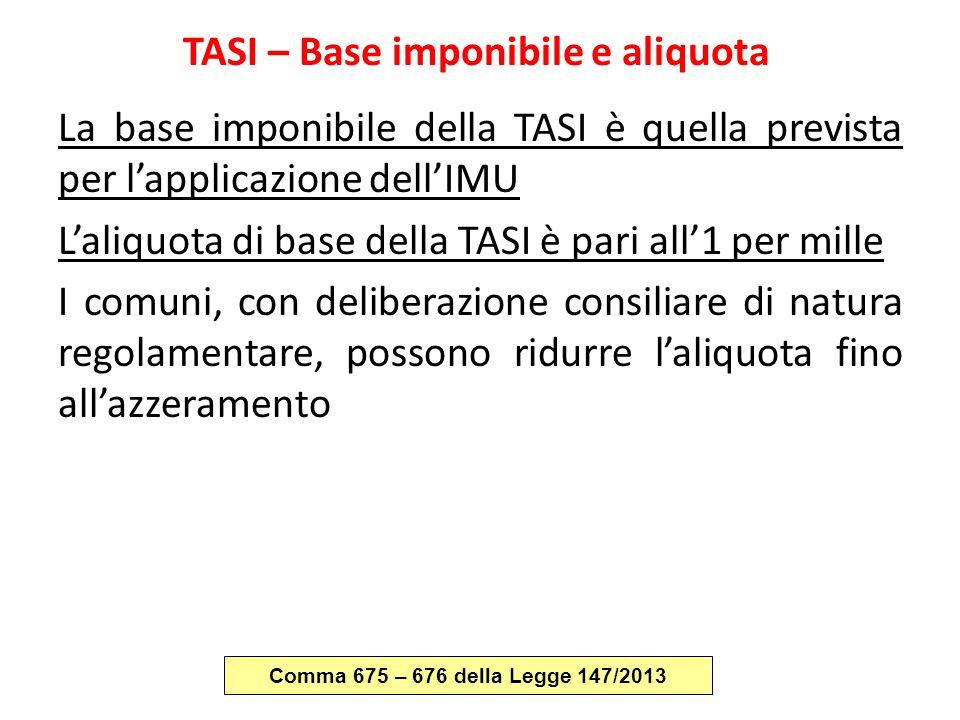 TASI – Base imponibile e aliquota