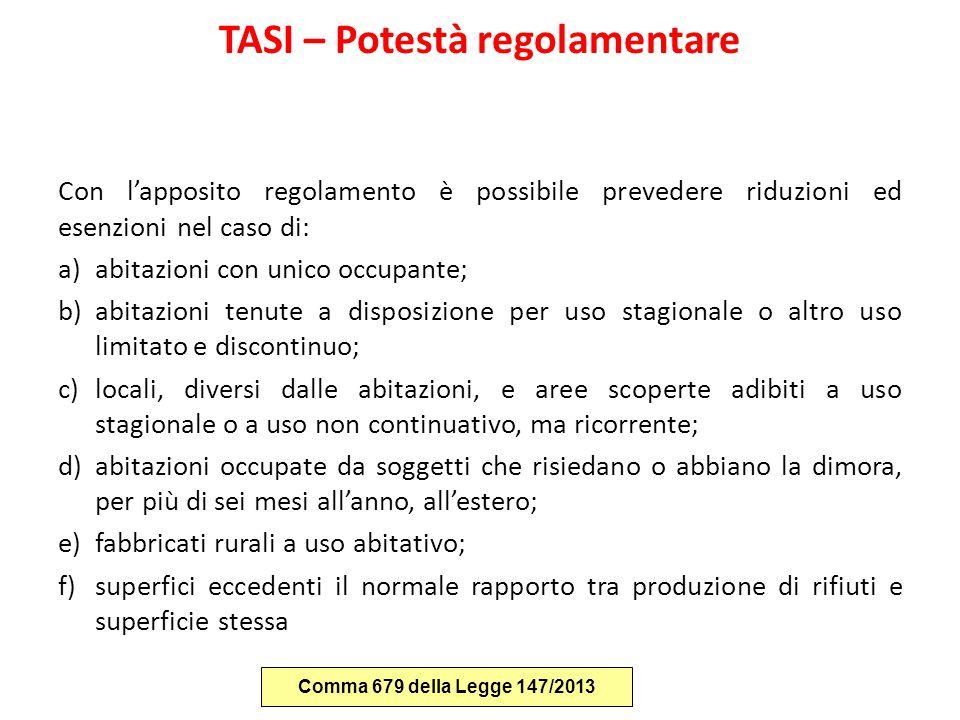 TASI – Potestà regolamentare