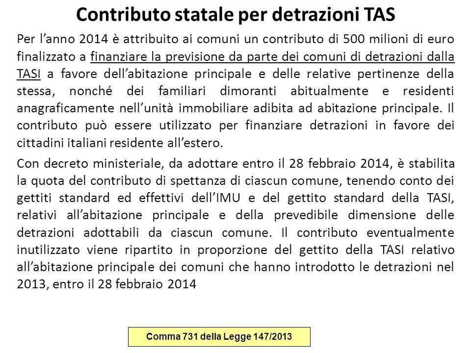 Contributo statale per detrazioni TAS