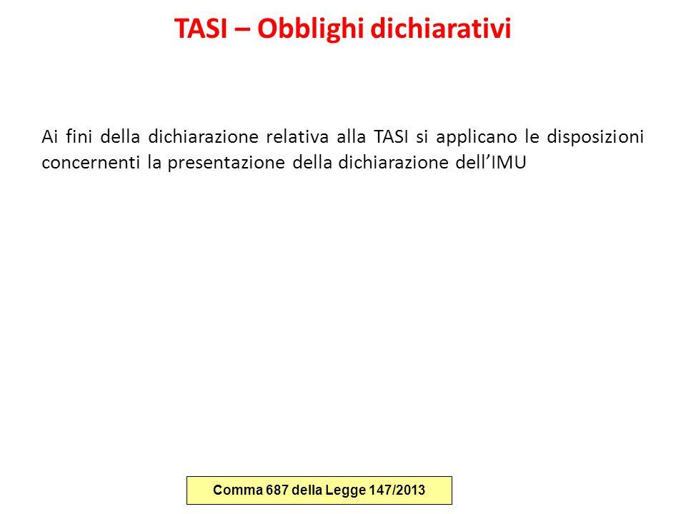 TASI – Obblighi dichiarativi