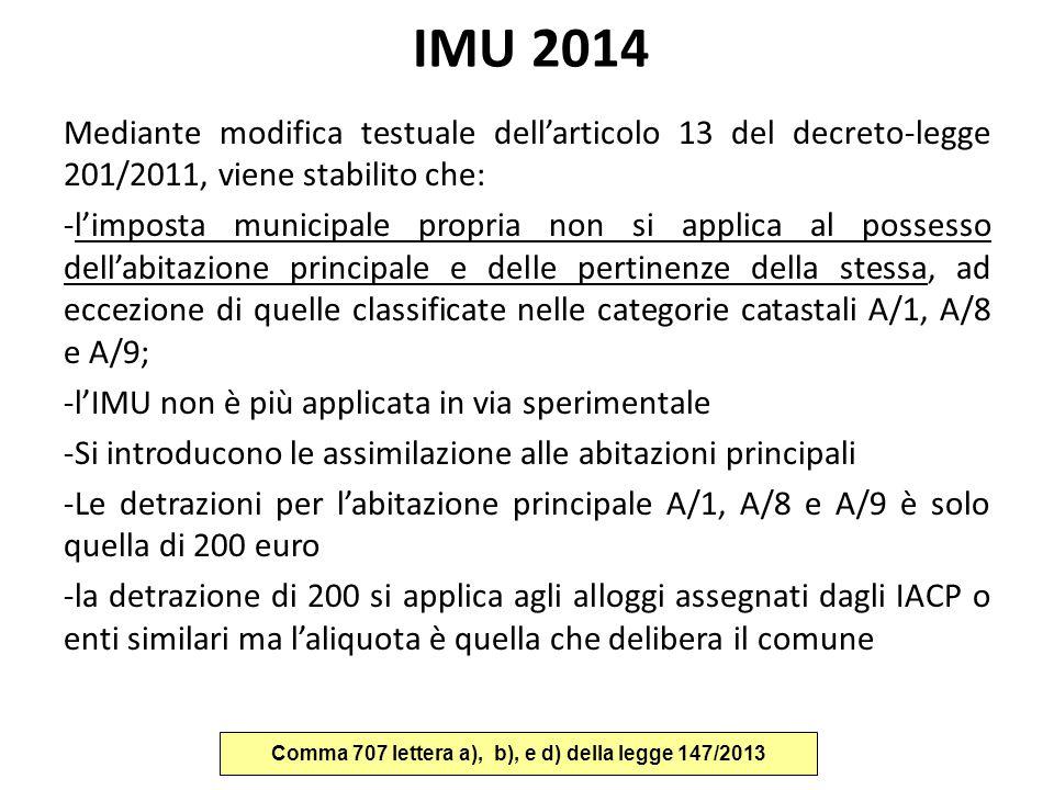 Comma 707 lettera a), b), e d) della legge 147/2013