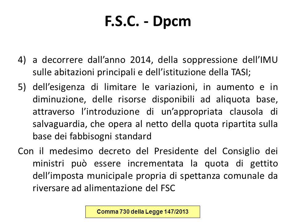 F.S.C. - Dpcm a decorrere dall'anno 2014, della soppressione dell'IMU sulle abitazioni principali e dell'istituzione della TASI;