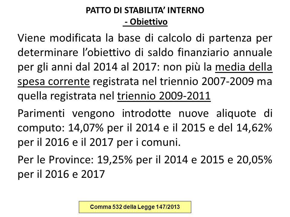 PATTO DI STABILITA' INTERNO - Obiettivo
