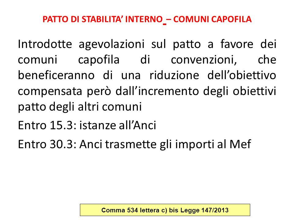 PATTO DI STABILITA' INTERNO – COMUNI CAPOFILA