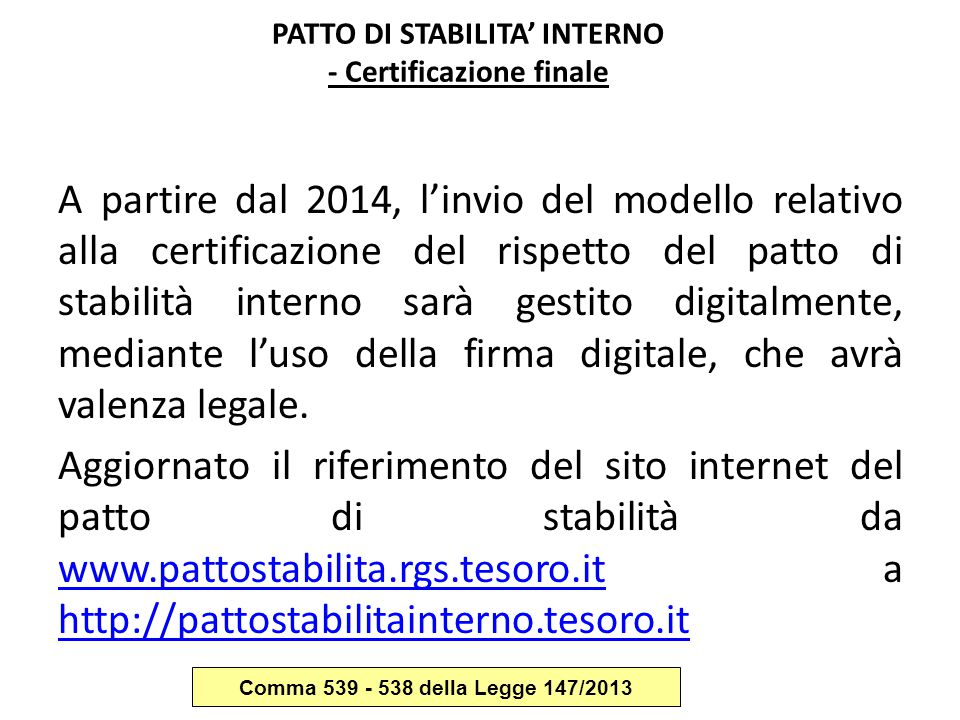 PATTO DI STABILITA' INTERNO - Certificazione finale