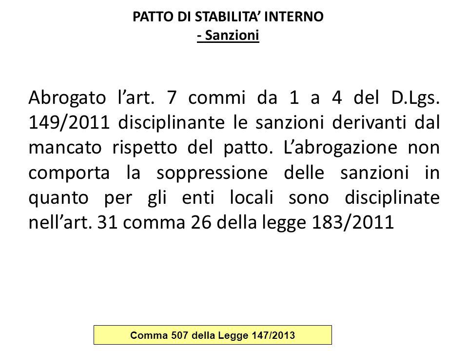 PATTO DI STABILITA' INTERNO - Sanzioni