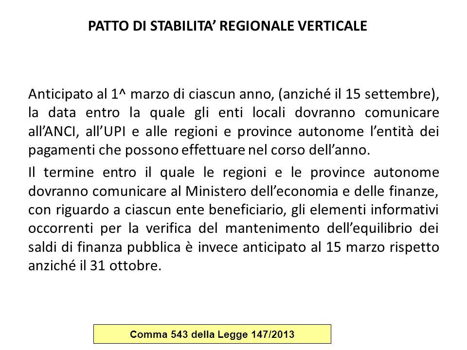 PATTO DI STABILITA' REGIONALE VERTICALE