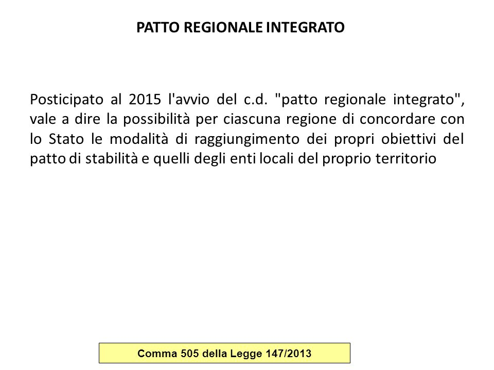 PATTO REGIONALE INTEGRATO
