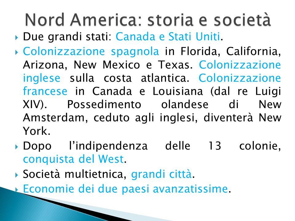 Nord America: storia e società