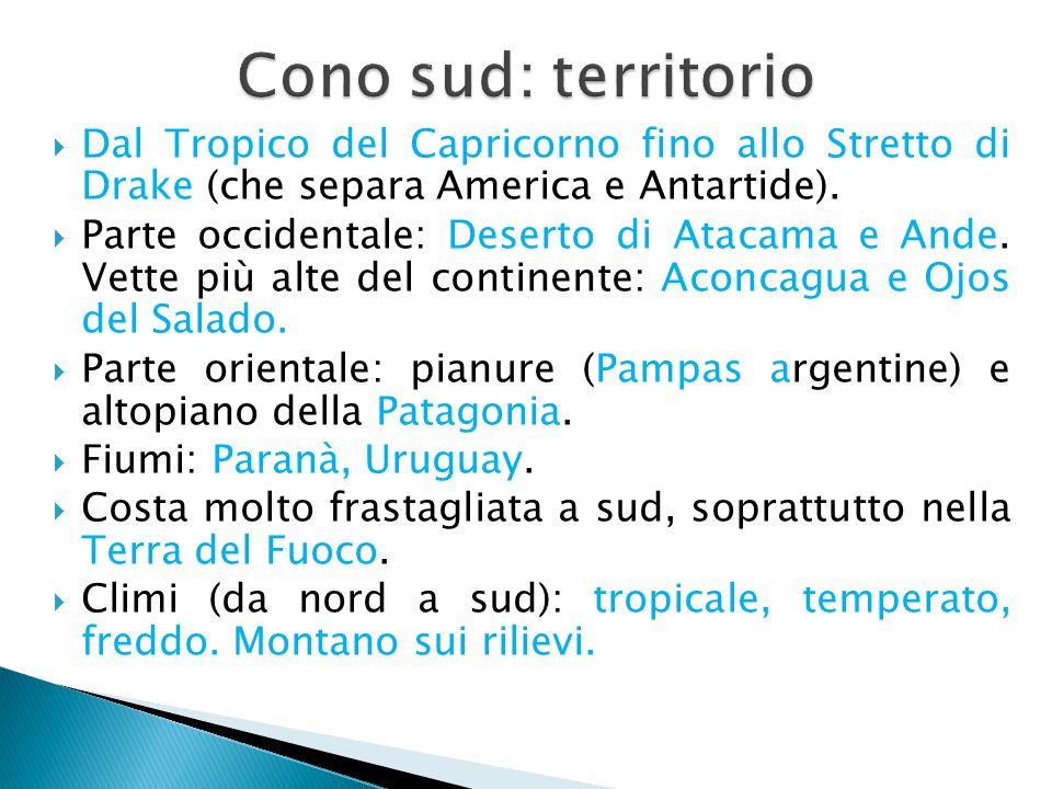 Cono sud: territorio Dal Tropico del Capricorno fino allo Stretto di Drake (che separa America e Antartide).